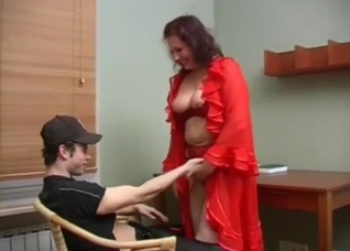 Mommy in red gets banged by her hung son