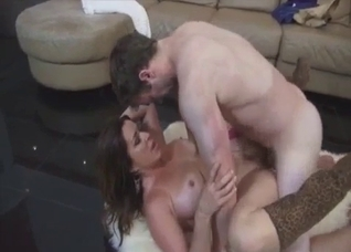 Tanned mommy takes her son's big dick