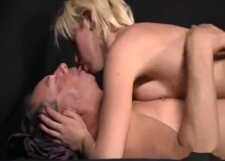 Short-haired blonde lovingly fucking her dad