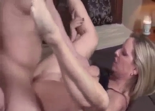 Blond-haired mommy fucking her hairy son