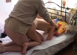 Skinny blonde teen has to fuck her fat dad on a bed
