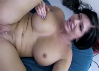 Short-haired MILF mommy fucking her son