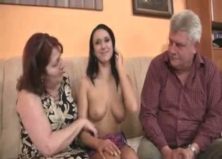 Brunette forced to fuck her elderly parents on camera