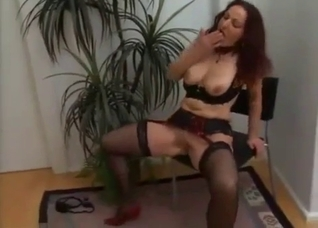 Red get-up and black stockings mommy fucked