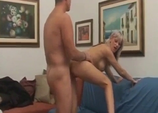 Busty blonde rides dad's dick on a messy couch