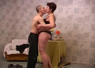 Pantyhose-clad brunette pounded by her bald-headed son