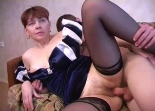 Dress-wearing hairy pussy mommy enjoys incest