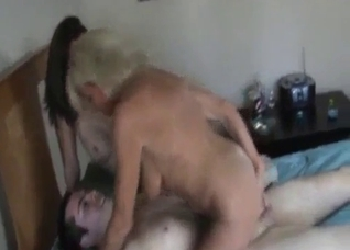 Tanned beauty and her mommy fucking this hung guy