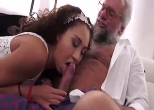 Curly brunette in white fucked by her hung dad