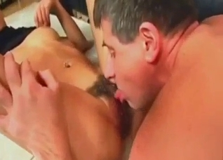 Tanned brunette fucked by her cock-ring wearing dad
