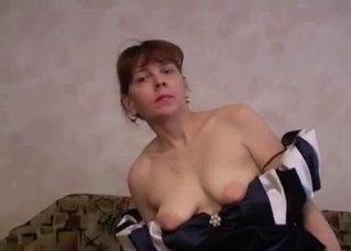 Dress and stockings MILF blows her son slowly