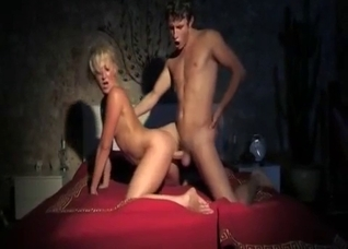 Tanned blonde fucked sideways by her son