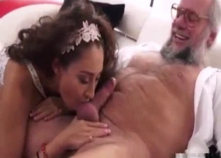 White get-up ethnic brunette sucking dad's dick