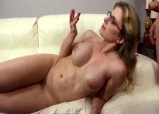Leggy blonde MILF takes her son's big dick