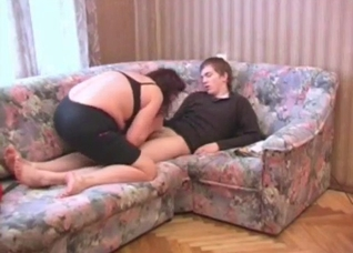 Mommy in red and black seducing her hung son