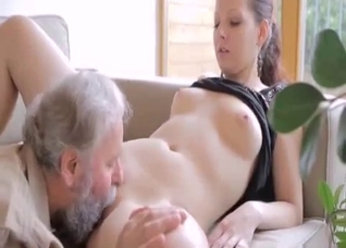 Ponytailed brunette can't hide from her dad