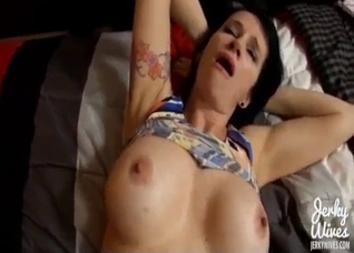POV fucking session with a tatted-up brunette