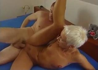 Short-haired and blonde MILF fucks her brother