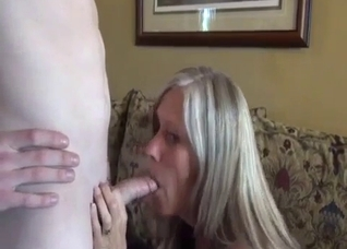Blonde licked by her horny-ass son on cam