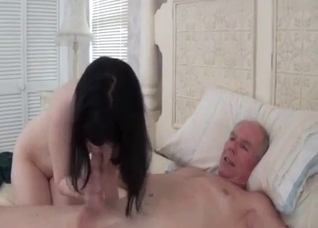 Pale brunette fucks her tied-up elderly father