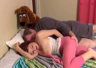Teen in leggings gets molested on a big bed