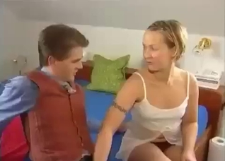 Short-haired blonde fucks her stylish brother