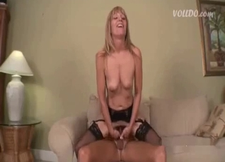 Stockings-clad blonde blows her hung son