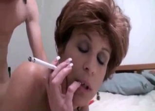 Smoking MILF destroyed by her son