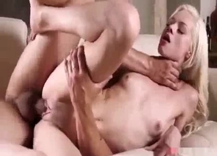 Long-haired blonde has to take dad's dick