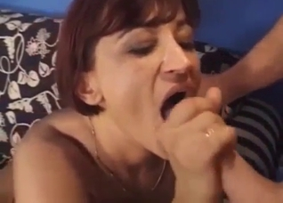 Short-haired chick fucking her big-dicked son