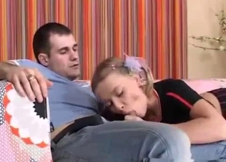 Blonde sucking her dad's throbbing boner