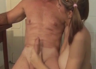 Pigtailed brunette riding her dad's massive cock