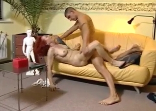 Brutal incest banging session on a leather couch