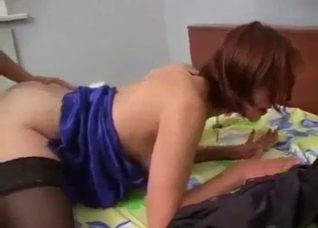 Short-haired slut in stockings bangs her brother